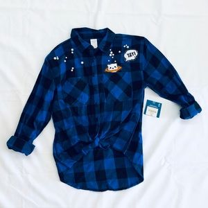 Girls flannel with pearls & patch detail